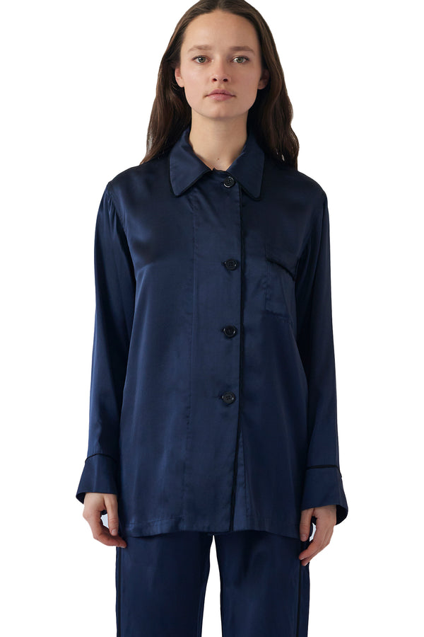 Button down long sleeve silk Kate pajama top by Araks in Sea