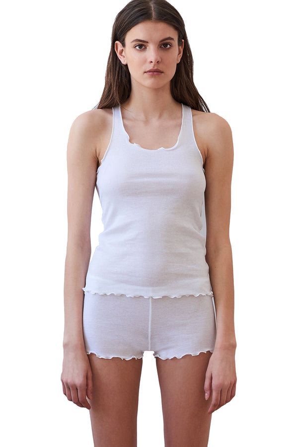 White ribbed Kinee tank by Araks