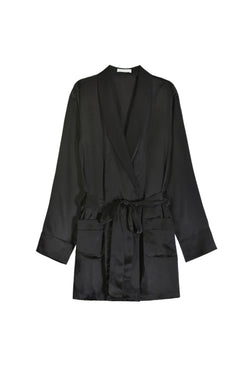 Black silk Madeline robe by Araks