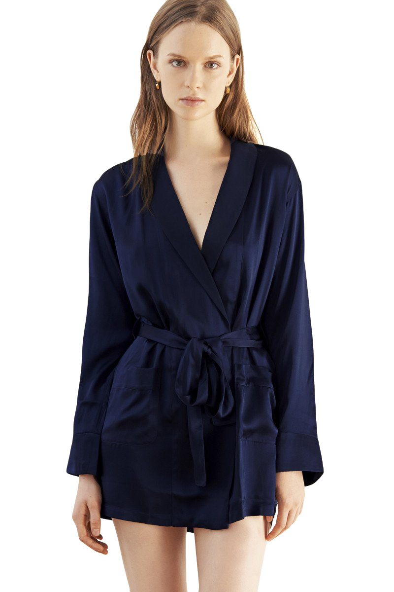Navy and black silk Madeline robe by Araks