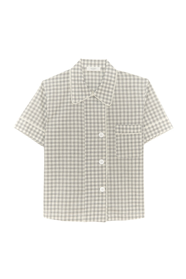 Grey gingham Shelby pajama top by Araks