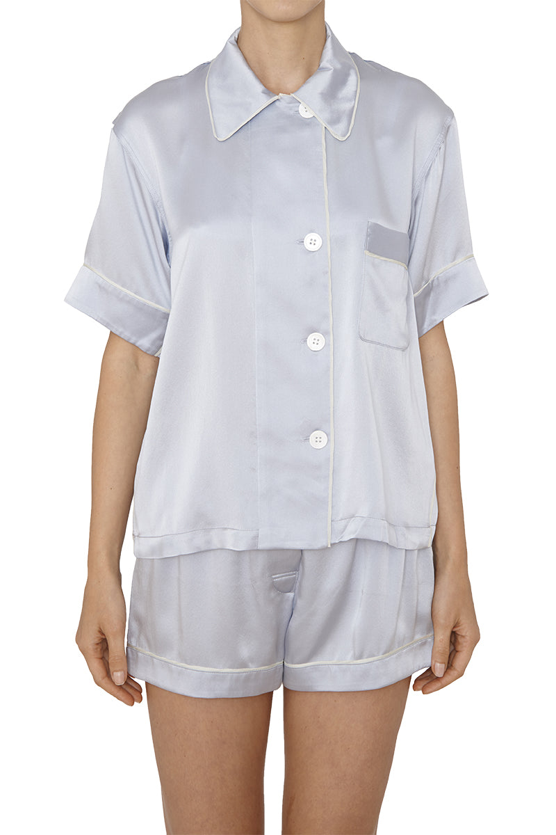 Shelby pajama top by Araks in platinum silk