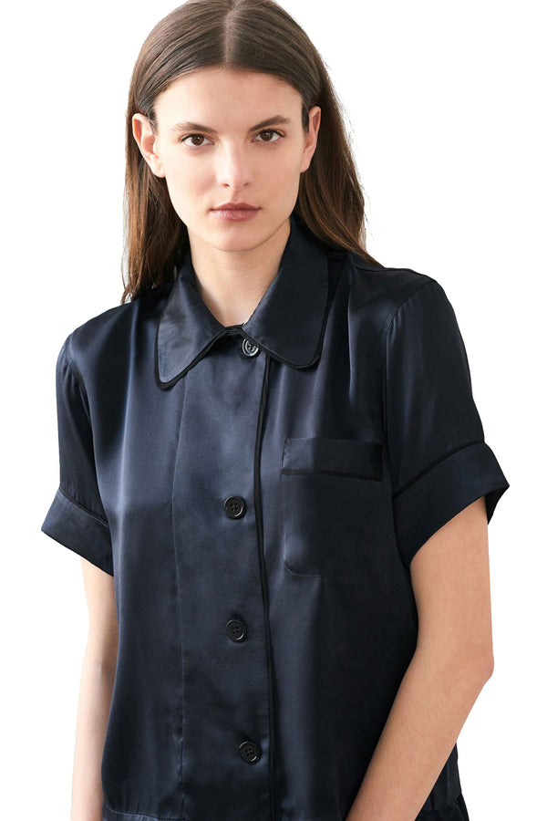 Silk Shelby pajama top by Araks in Sea