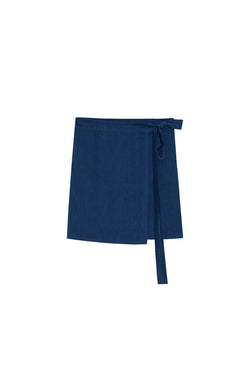 Adah Marine Blue Silk Wrap Skirt by Pondicherie