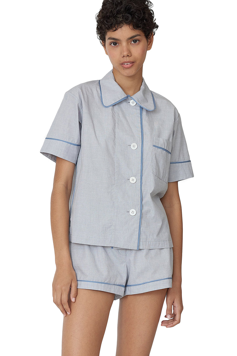 Grey-blue button up short sleeve Shelby pajama top by Araks