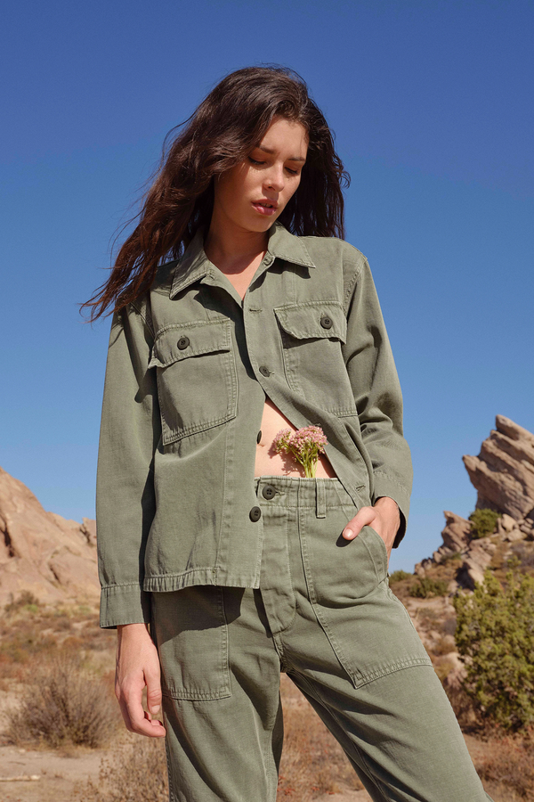 Model wearing Army Shirt Jacket in Army Green | A M O