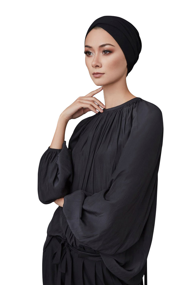 Black Criss-Cross Underscarf by Haute Hijab