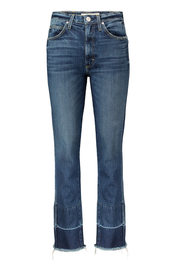 High waisted flared indigo Bella jeans with released hem by AMO Denim