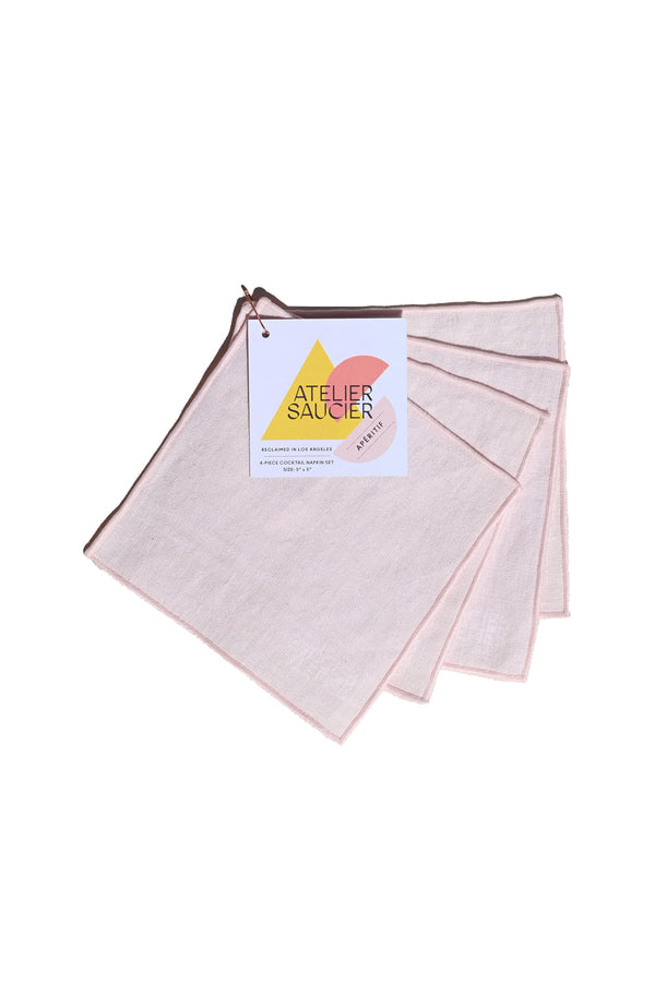 Blush Linen Cocktail Napkins | Atelier Saucier