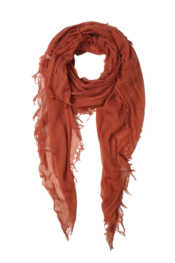 Cashmere and Silk Woven Scarf in Auburn by Chan Luu