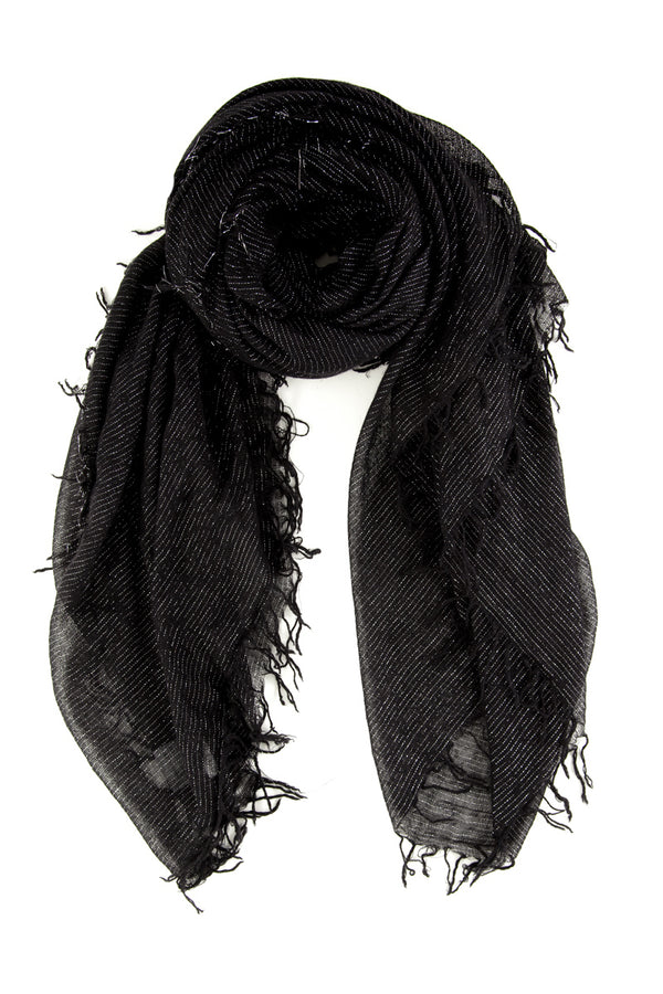 Black Metallic Scarf by Chan Luu