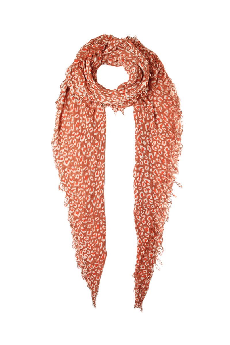 Light red Leopard Print Scarf by Chan Luu