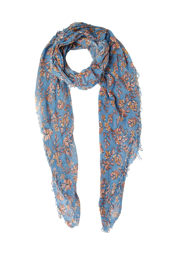Painterly Floral Scarf in Palace Blue by Chan Luu