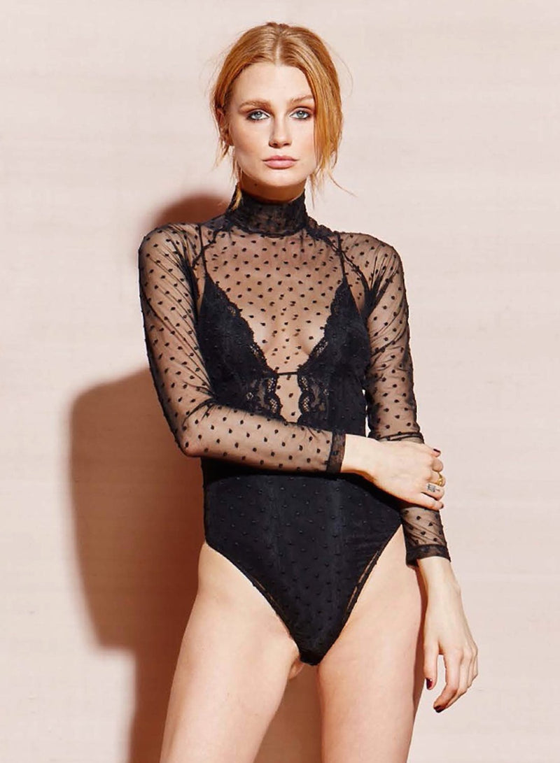 Black Charlotte Lace V-Neck Bodysuit by Fleur du Mal