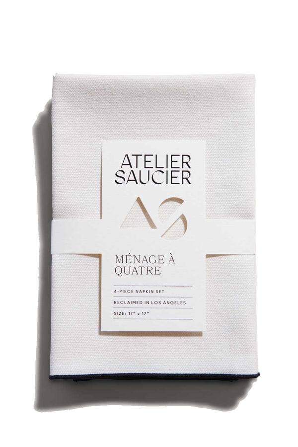 Cream Burlap Napkins with noir accents | Atelier Saucier