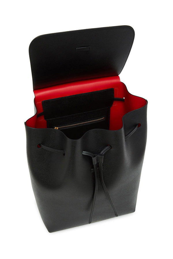 Black Saffiano Leather Backpack with Red Interior by Mansur Gavriel