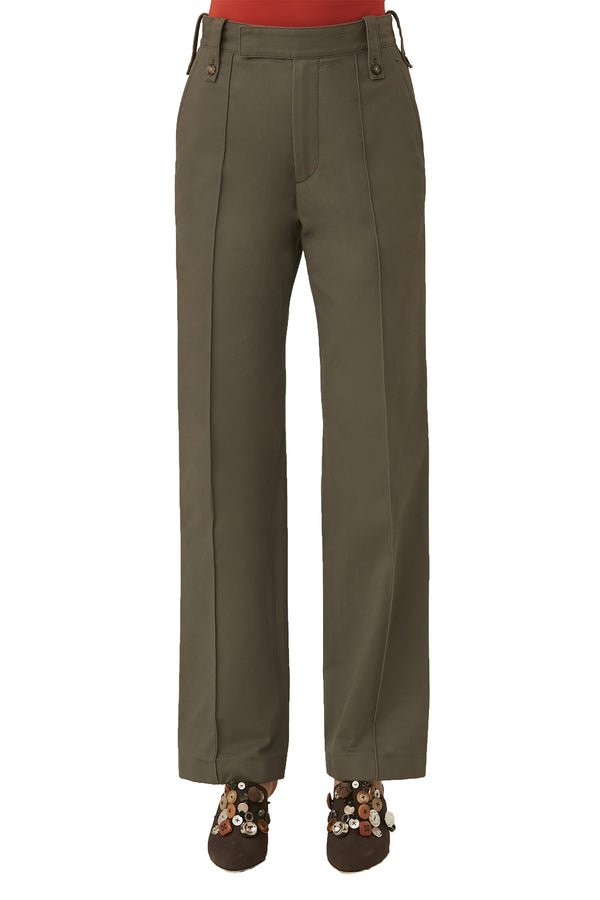 Green mid-rise cotton trousers from LOROD
