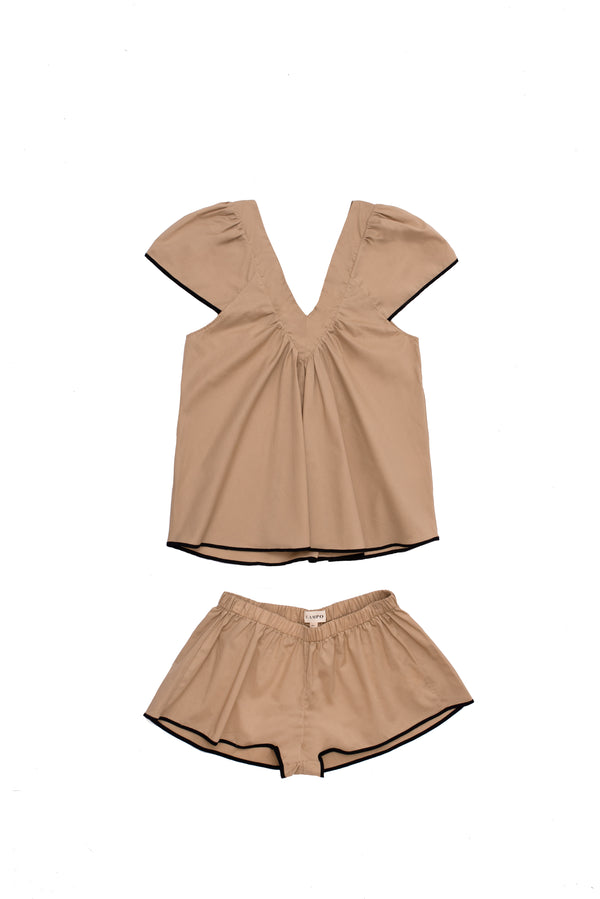 Bianca Pajama Set in Tan | Campo Collection