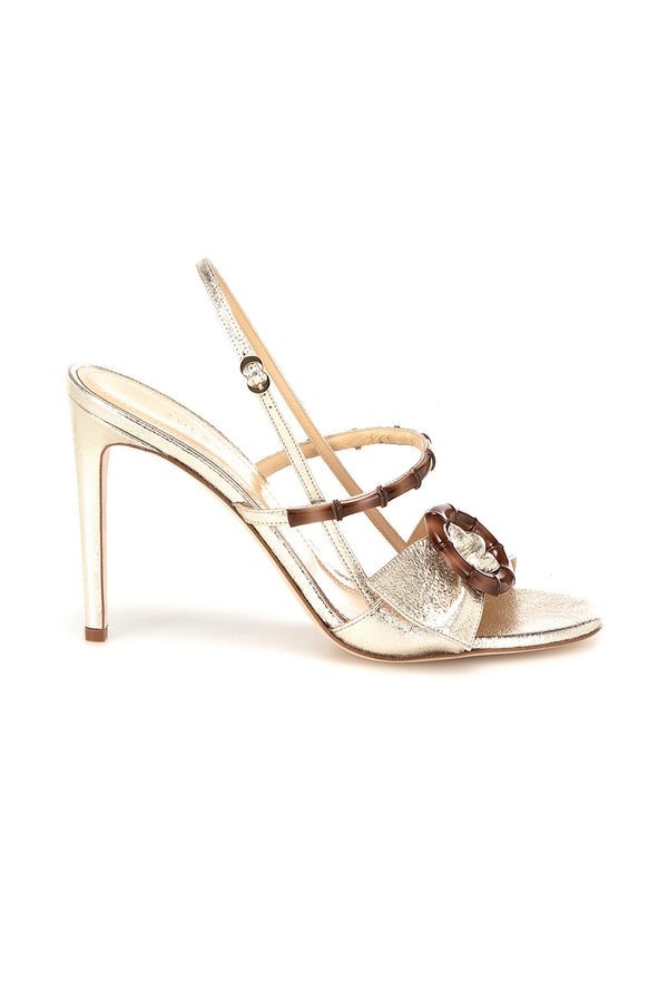 Gold leather and bamboo Celeste heels by Chloe Gosselin