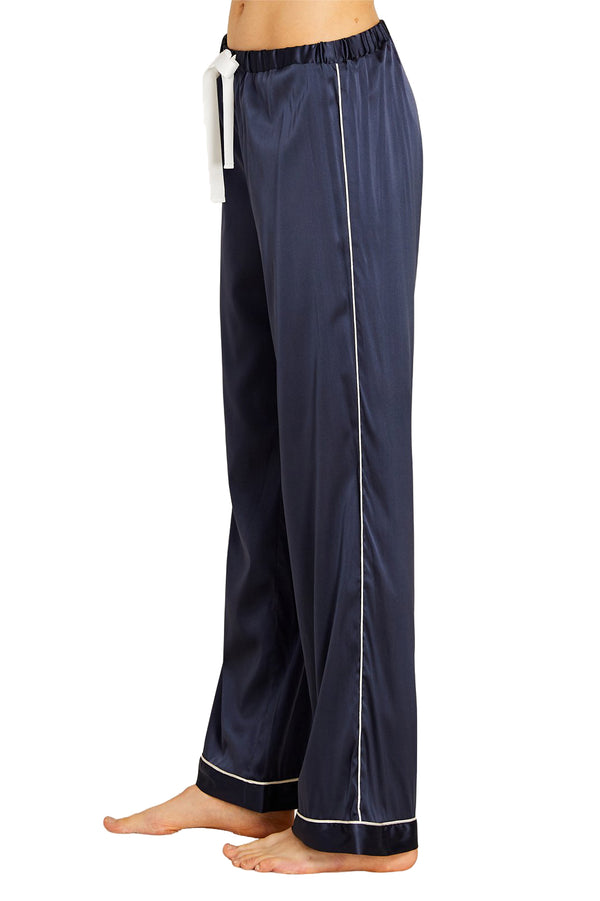 Dark blue silk casual pant from Morgan Lane