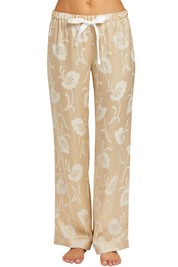 Chantal Pant in Creme with Lily Pad Print | Morgan Lane