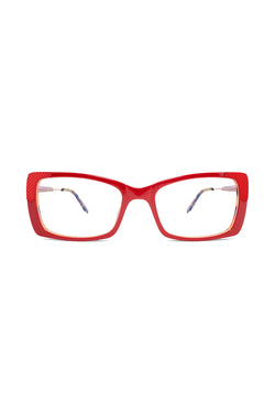 Red frame rectangular Clarity 101 Glasses by Coco and Breezy