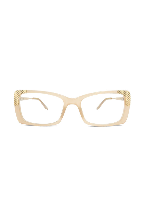 Cream frame rectangular Clarity 102 Glasses by Coco and Breezy