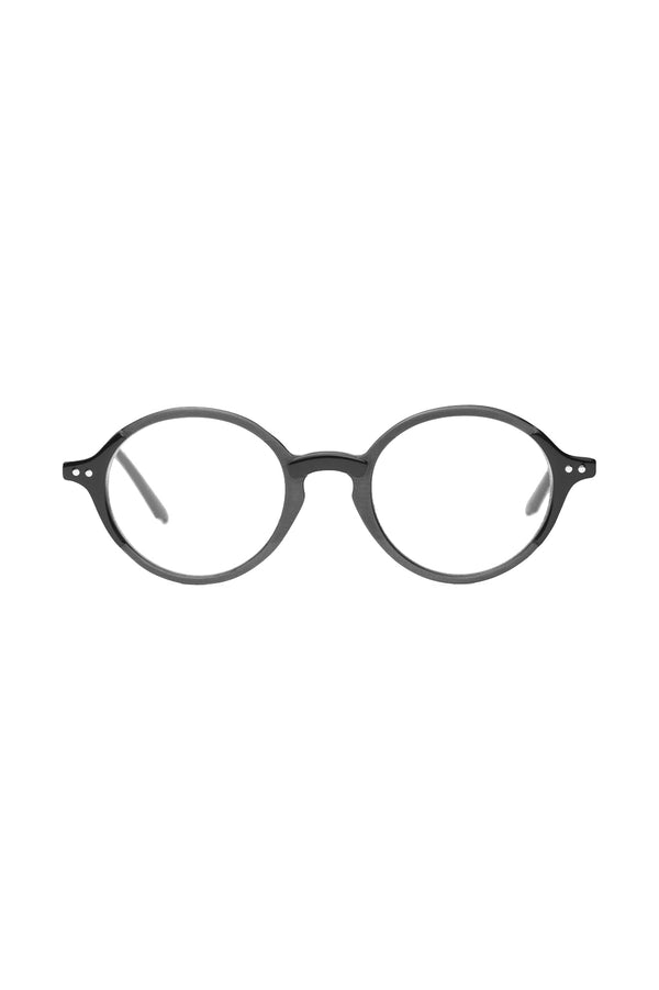 Round, dark grey framed Jene 102 Glasses by Coco and Breezy