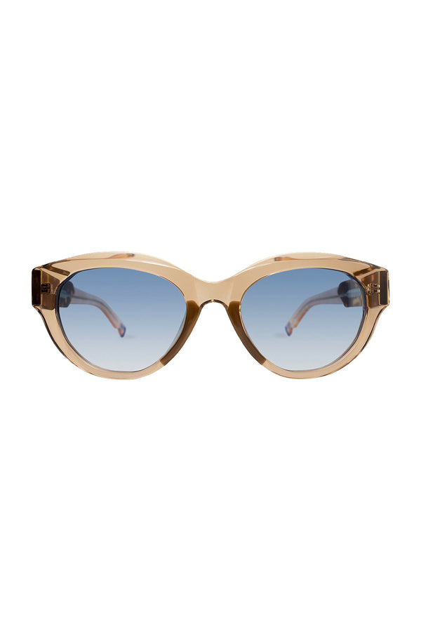 Peyton 101 Sunglasses with cream frames and blue lenses by Coco and Breezy