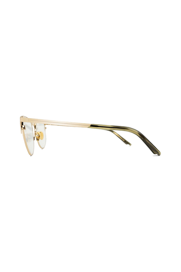 Gold cat eyed Zinnia 101 Glasses by Coco and Breezy.