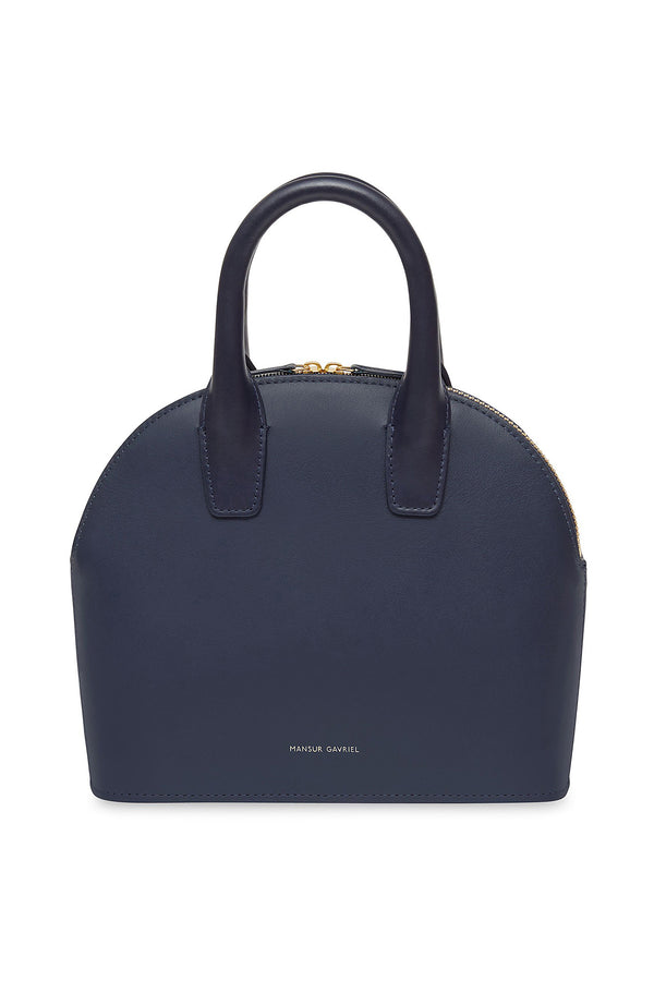 Blue Leather Mini Top Handle Bag by Mansur Gavriel