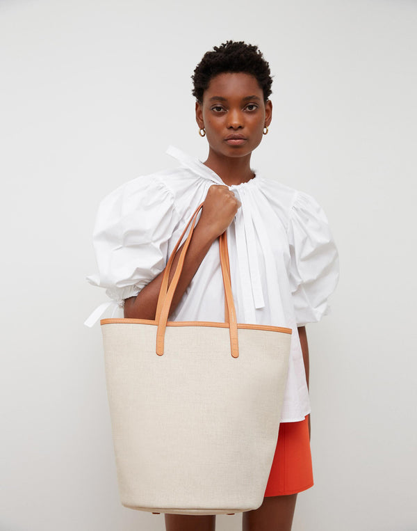 Canvas Circle Bucket Bag in Beige