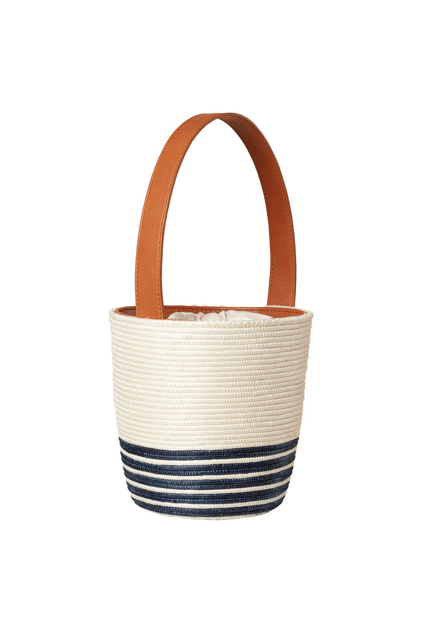 Navy stripe natural basket Half Breton Lunchpail bag by Cesta Collective