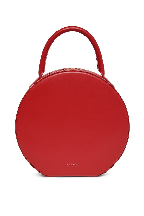 Red Calf Leather Circle Clutch with Single Handle by Mansur Gavriel