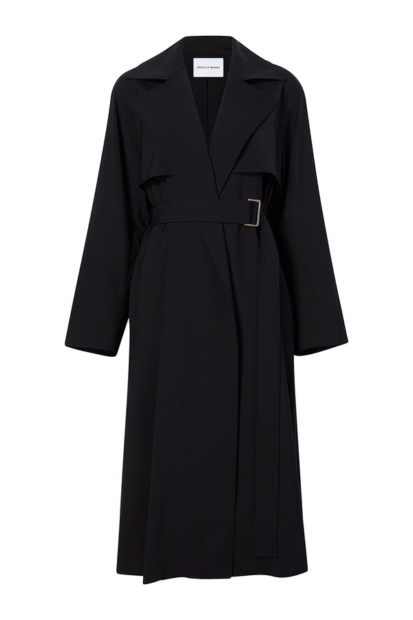 Carina trench Coat in Black by Michelle Waugh