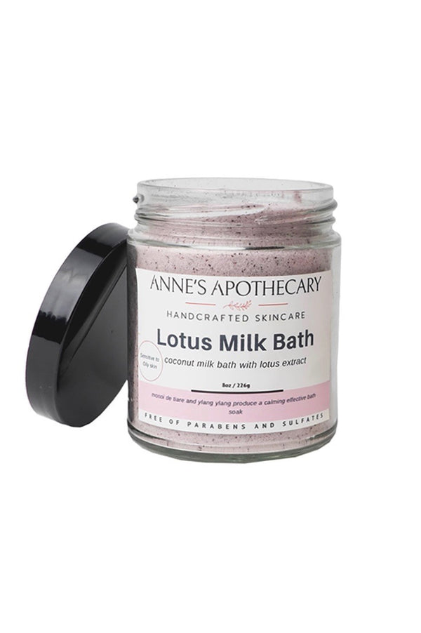 Jar of pink Lotus Bath Milk by Anne's Apothecary