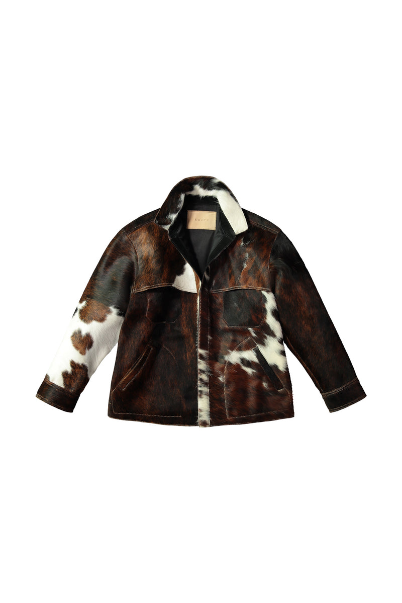 Brown, black and white cowhide Bobby Jacket by KUZYK