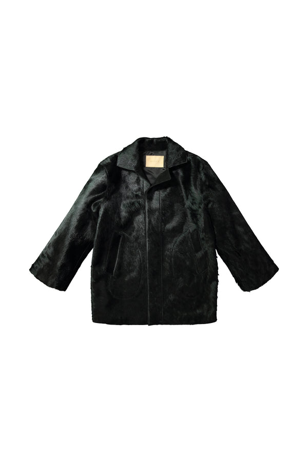 Black leather Holland Coat by KUZYK