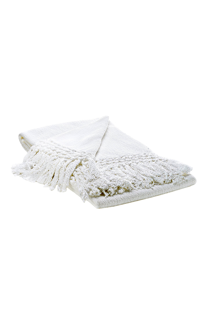 Mila Woven Cotton Blanket in White by Sefte