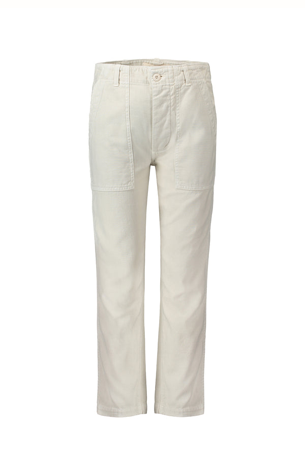 White high-rise Army Pant by AMO Denim