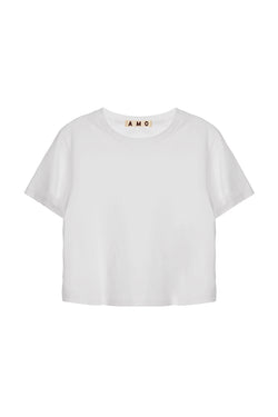 Cropped white cotton Babe t-shirt from AMO Denim