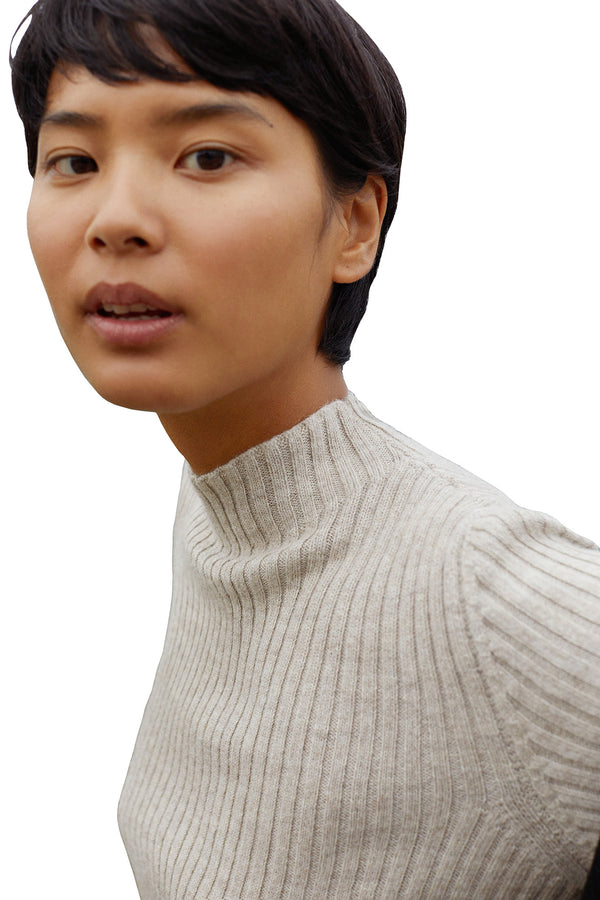 Taupe ribbed alpaca fur sweater by Mansur Gavriel