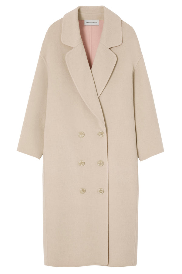 Beige oversized wool coat from Mansur Gavriel