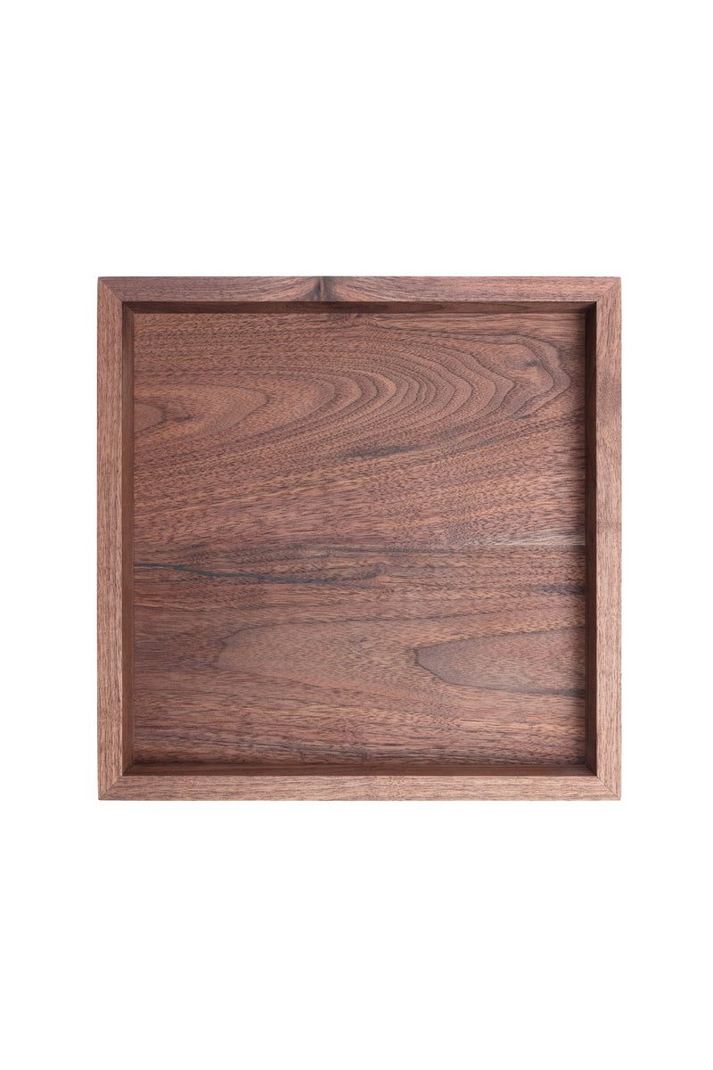 Small walnut wood serving tray