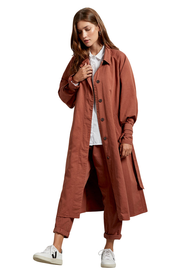 Brown full length twill button coat from Michael Stars