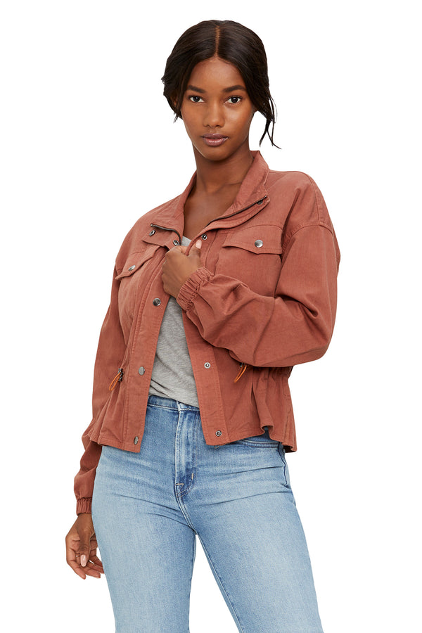 Brown cotton blend cropped jacket from Michael Stars