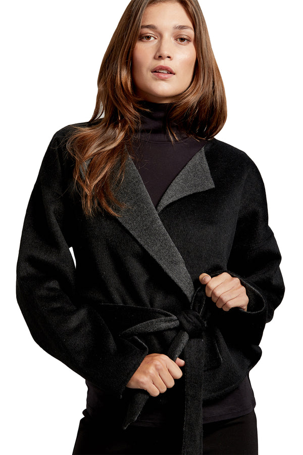 Black reversible wool kimono jacket from Michael Stars