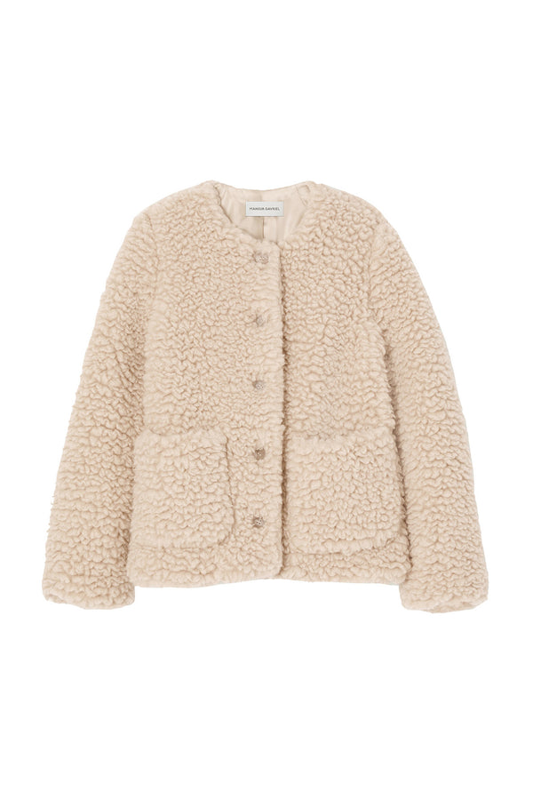 Beige cashmere and silk jacket from Mansur Gavriel
