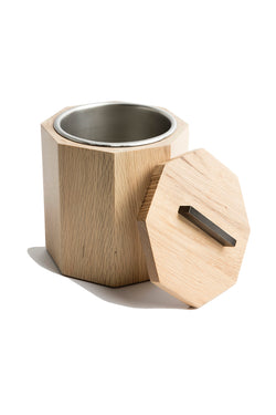 White oak exterior and stainless steel interior ice bucket with lid