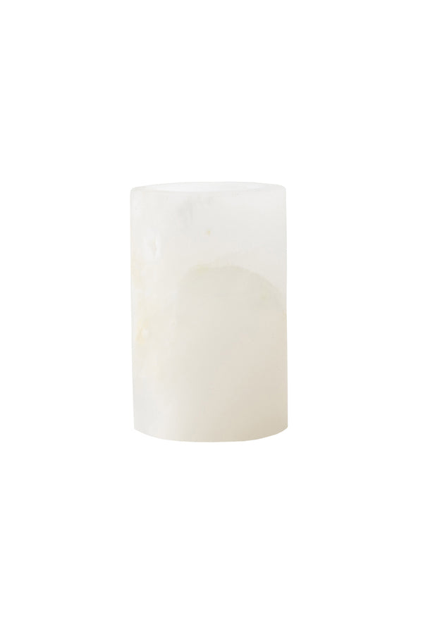 White Onyx Matte Round Candle Holder by The Cristalline